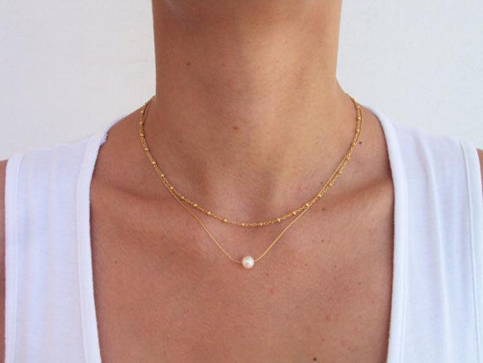 single pearl necklace gold satellite chain white pearl necklace 14k gold necklace simple everyday pearl necklace gold layered necklace