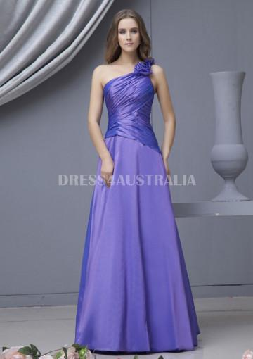 Wedding - Buy Australia A-line Ruffles One-shoulder Taffeta Floor Length Bridesmaid Dresses 8132087 at AU$134.64 - Dress4Australia.com.au