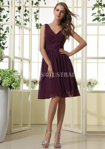 Buy australia a line v neck grape chiffon knee length for V neck wedding dresses australia