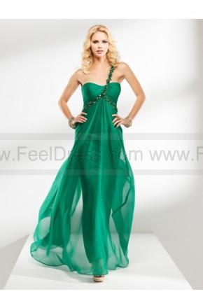 Свадьба - 2014 New Arrival Sheath One-shoulder Ruched Beading Long Green Chiffon Prom Dress PD-7266