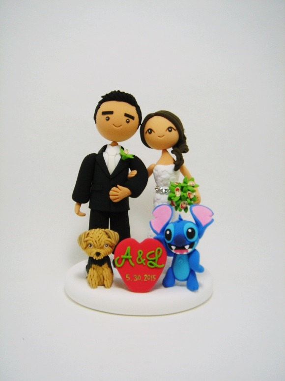 Wedding - Cute couple custom wedding cake topper with the dog and cute character