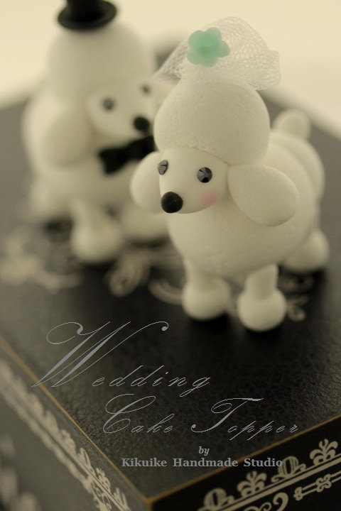 زفاف - poodles Wedding Cake Topper -Handmade lovely Kiss Poodle---k807
