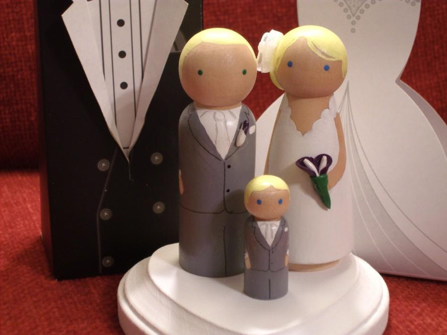 Wedding - Personalized Wood Doll Cake Topper - Custom Wedding Cake Topper with Pet - Custom Wedding Cake Topper with Child