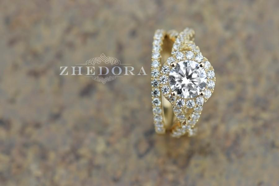 225 CT Round Cut Engagement Ring Band Set In Solid 14k Yellow Gold Bridal Wedding Lab Created Diamond