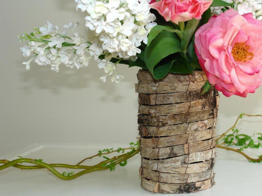 Birch Bark Vases Planter Wedding Table
