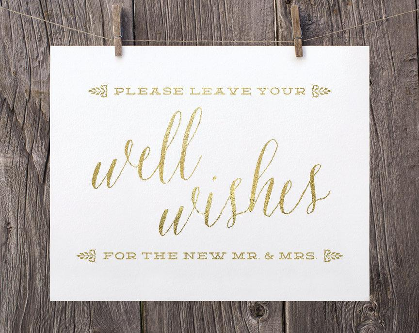 5x7 Printable Wedding Signs Guest Book Sign Well Wishes Gold And White Reception For The Mr Mrs