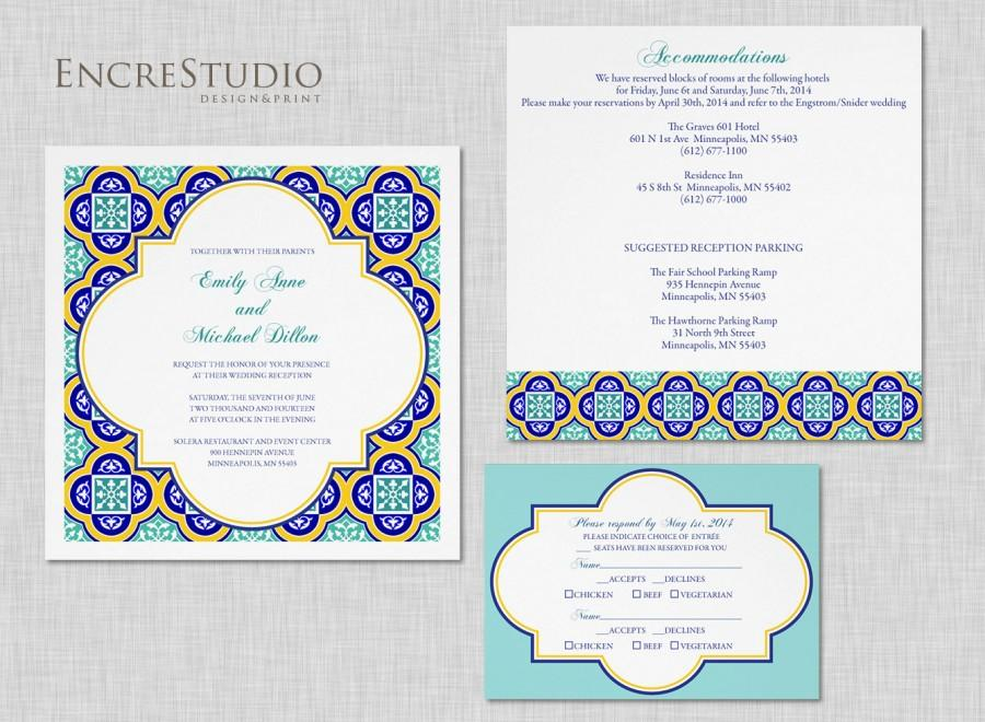 Invitations In Spanish For Wedding: Printable Spanish Tiles Wedding Invitation #2436694