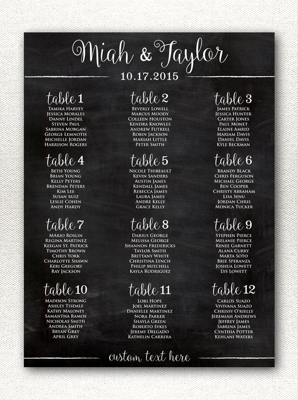 Mariage - Simple & Rustic Chalkboard Style Wedding Seating Chart Printable, Alphabetical Printable Wedding Seating Chart, Custom Sizes/Color Available