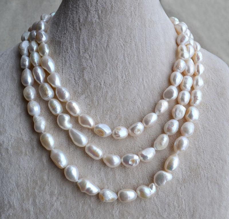 Wedding - baroque pearl Necklace-pearl jewelry, 55 inches 10-12mm Freshwater Pearl Necklace,long pearl necklace,big pearl necklace, mother necklace