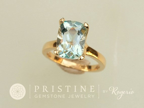 زفاف - Cushion Aquamarine Solitaire Gold Ring Gemstone Ring Weddings Anniversary March Birthstone Gift For Her