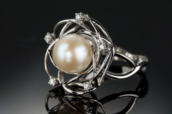 unusual sterling white silver engagement diamond pearl ring rings and
