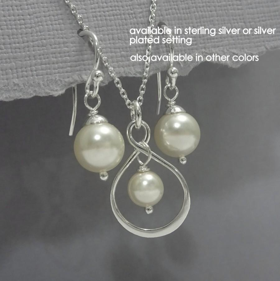 Infinity Bridesmaid Gift Set And Ivory Pearl Necklace Earring Jewelry Maid Of Honor