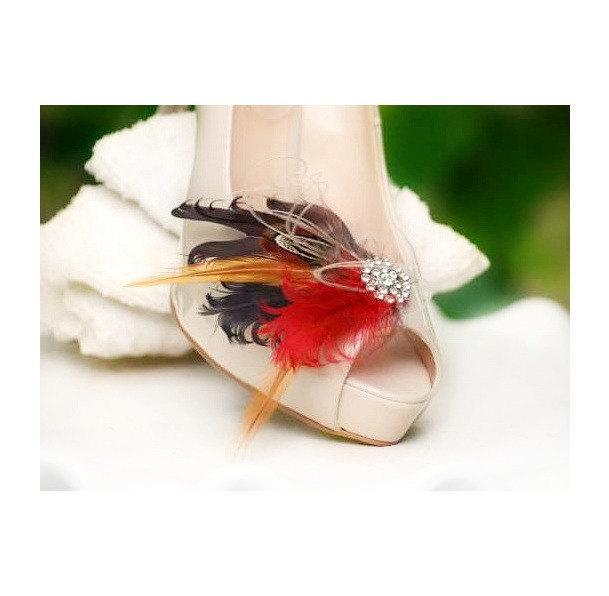 Wedding - Warm Shoe Clips Brown Burnt Red & Rhinestone. Spring Engagement. Bride Bridal Bridesmaid Couture Big Day Rockabilly. Edgy Bold Chic Wedding