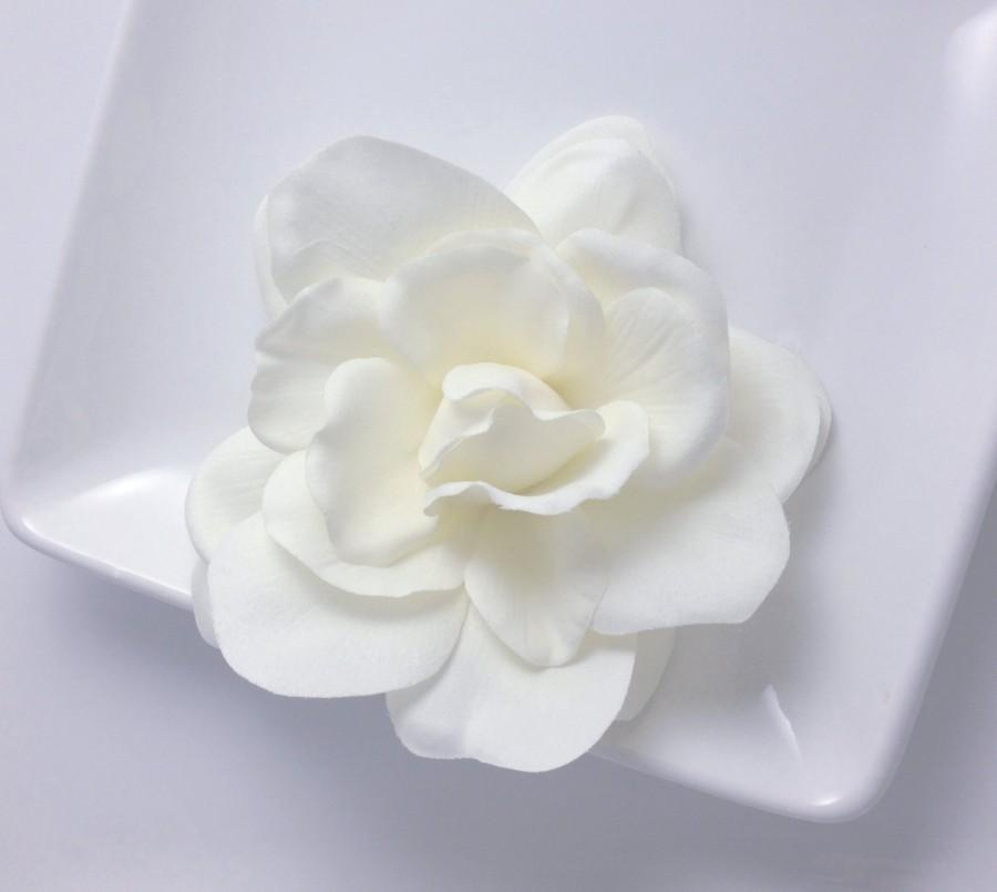 Свадьба - Real Touch Light Ivory Cream Silk Gardenia Bridal Hair Flower Clip and Pin Faux Floral Accessory , Bridal Sash or Belt