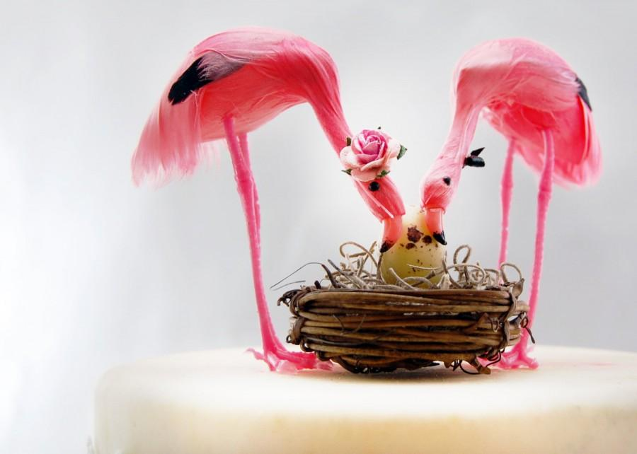Pink Flamingo Baby Shower Cake Topper: Tropical Mom, Dad And Baby   Love  Bird Cake Topper    LoveNesting Wedding Cake Toppers