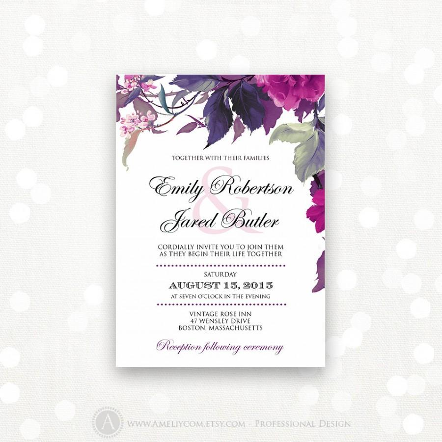 Printable Wedding Invitation Lilac & Purple Weddings Invite Modern ...