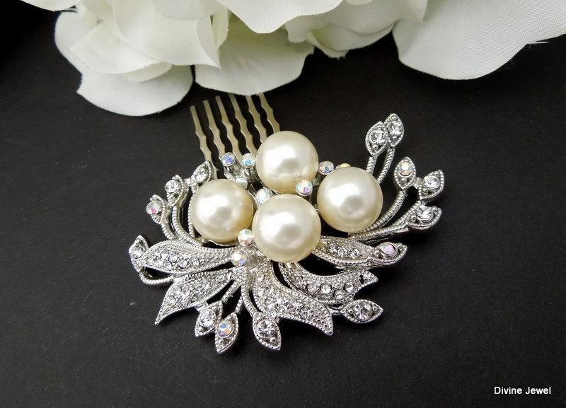 Mariage - Bridal Hair Comb,Rhinestone Brooch,Ivory Pearls Hair Comb, Wedding Hair Comb, Pearl Hair Comb, Statement Hair Comb,Pearl,JULIE