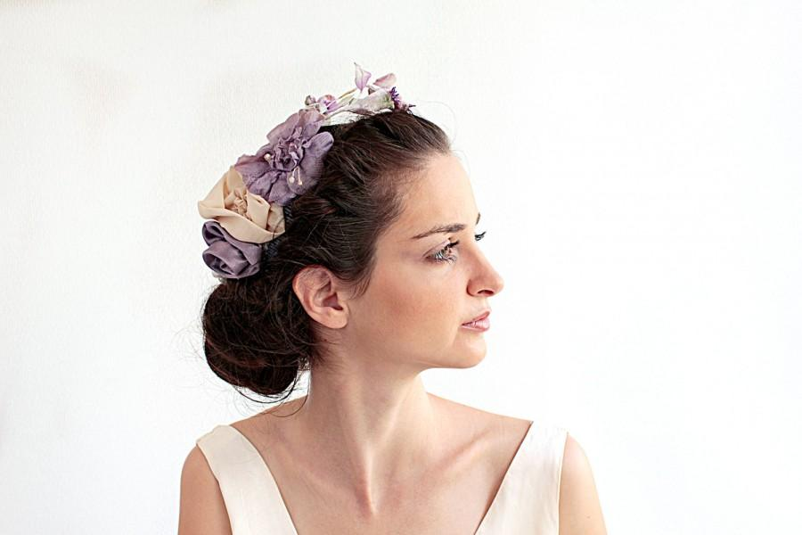 Mariage - Hair clips and lapel pin vintage lilac and natural comb fascinator