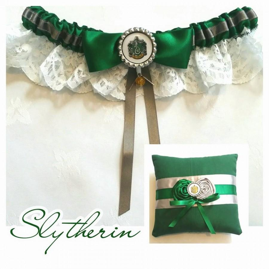Mariage - Harry Potter Slytherin Garter and Ring Pillow Set