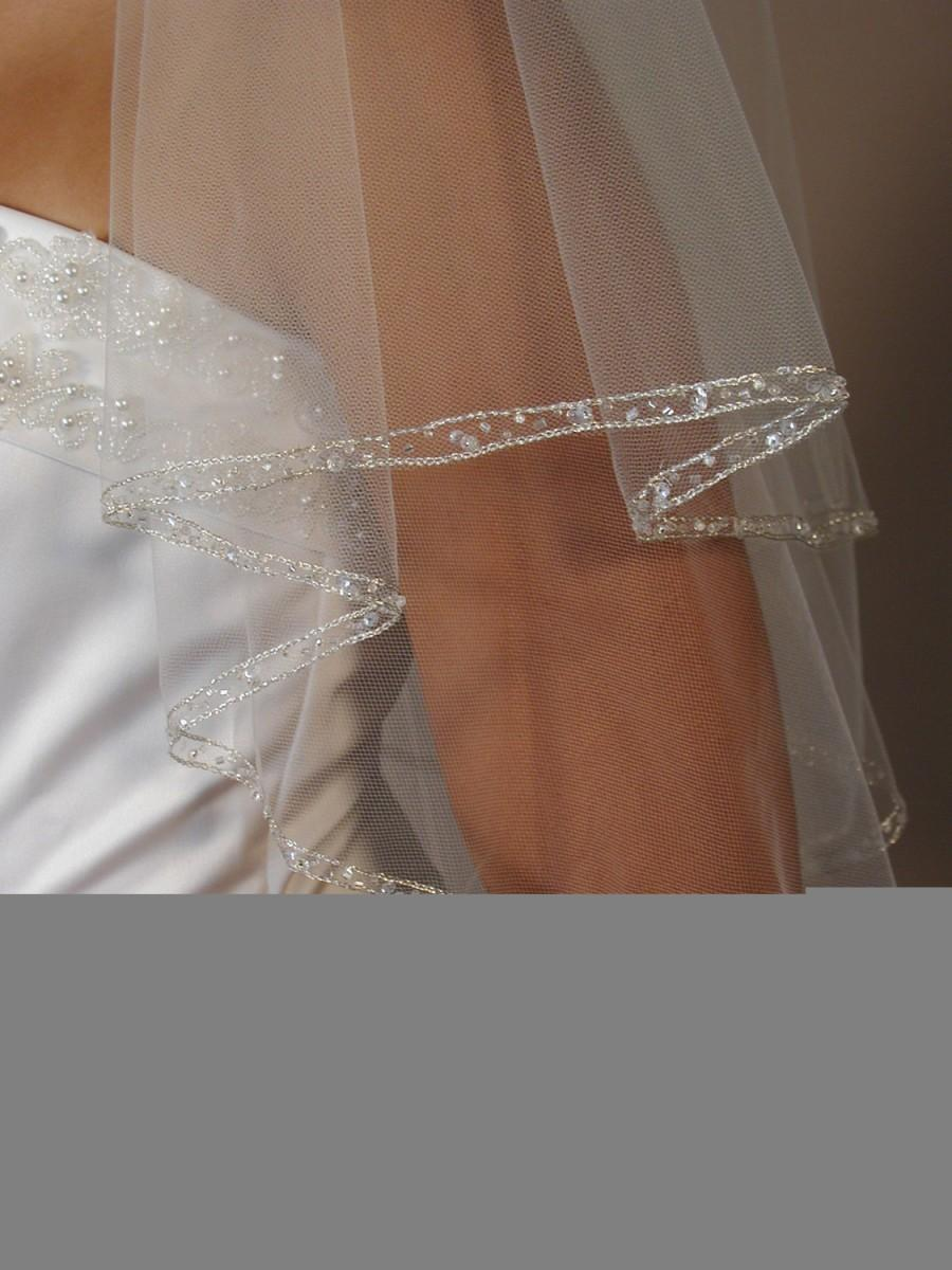 Mariage - 2 layers beaded wedding veil.