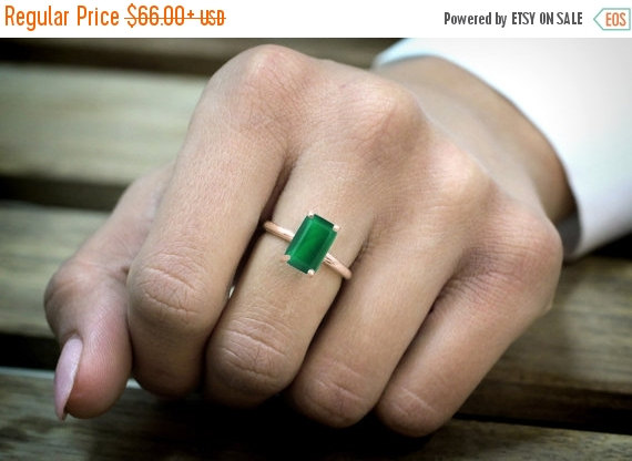 Mariage - NEW YEARS SALE - 14k rose gold ring,green onyx ring,rectangle ring,pink gold ring,engagement ring,rose gold filled ring,proposal ring