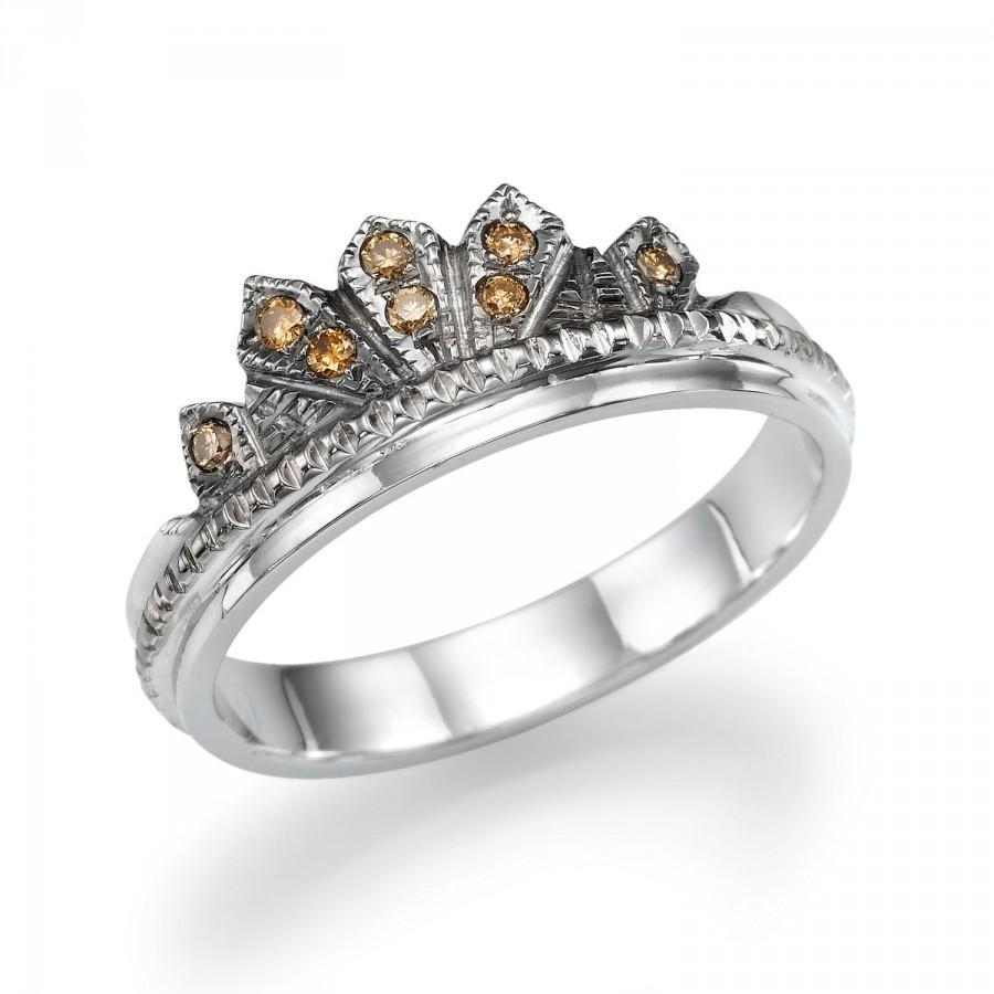Mariage - Gold Ring, Champagne Diamonds Band, Christmas Gift, 14K White Gold Ring, Design Wedding Band, Vintage Ring, Sizable 4 5 6 7 8 9 10 11