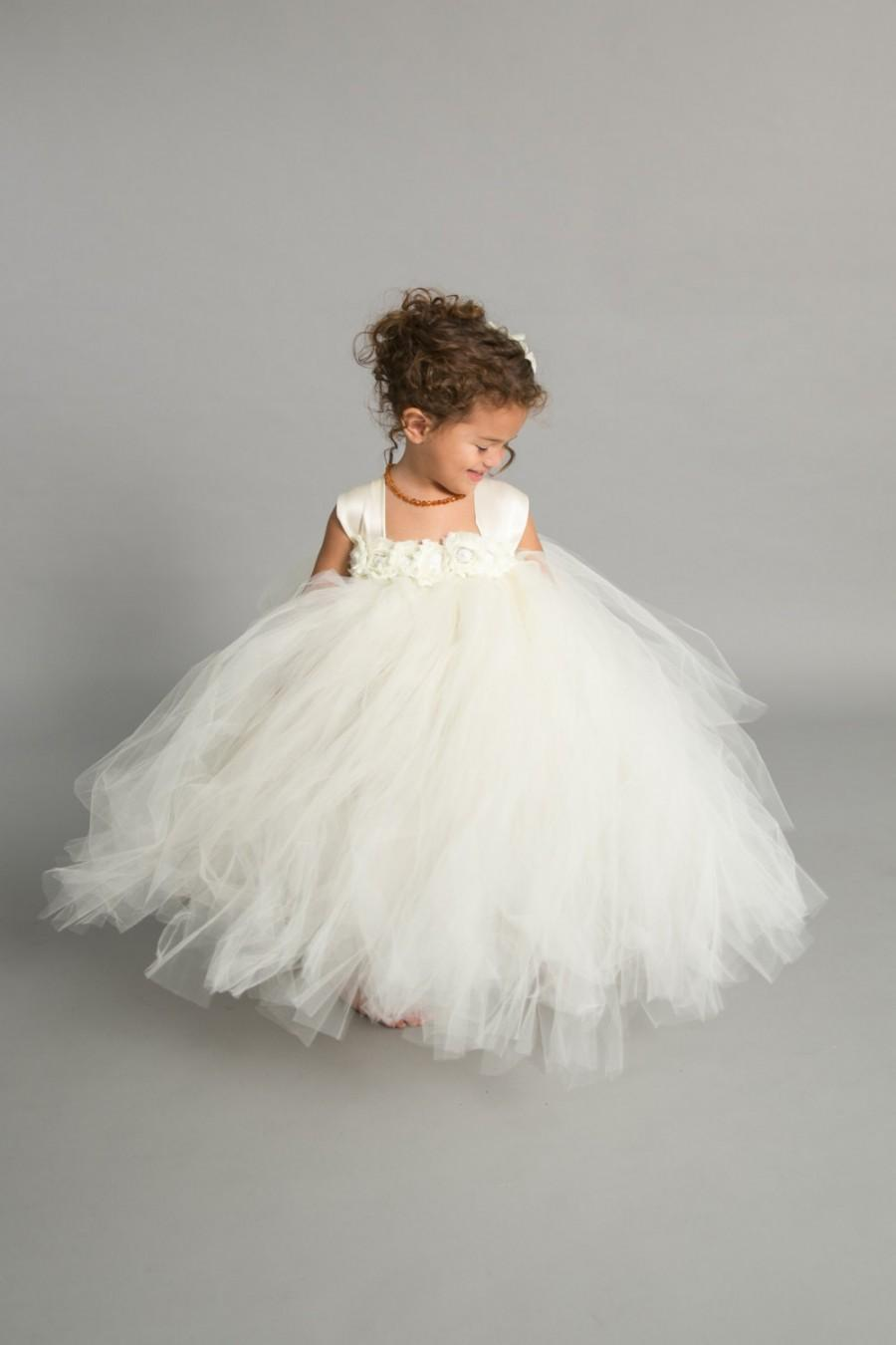 78edc63d9 Flower girl dress - Tulle flower girl dress - Ivory Dress - Tulle dress-Infant/Toddler  - Pageant dress - Princess dress - Ivory flower dress