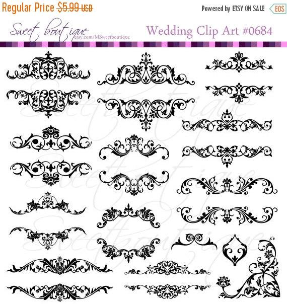 Xmas SALE Flourish Frames Clip Art Digital Flourishes Clipart Diy ...