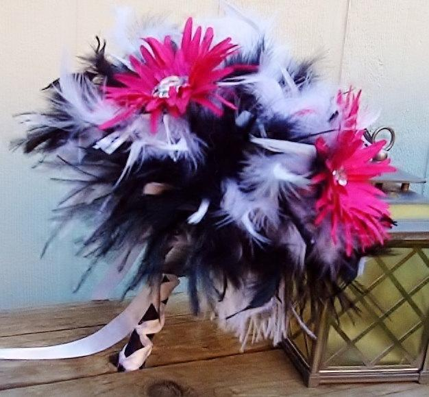 Mariage - Feather & Gerber Daisies Flower Bridal Bouquet - Fuchsia, Hot Pink, Black, White Wedding Bouquets - Custom Crystal Daisy Colors Large