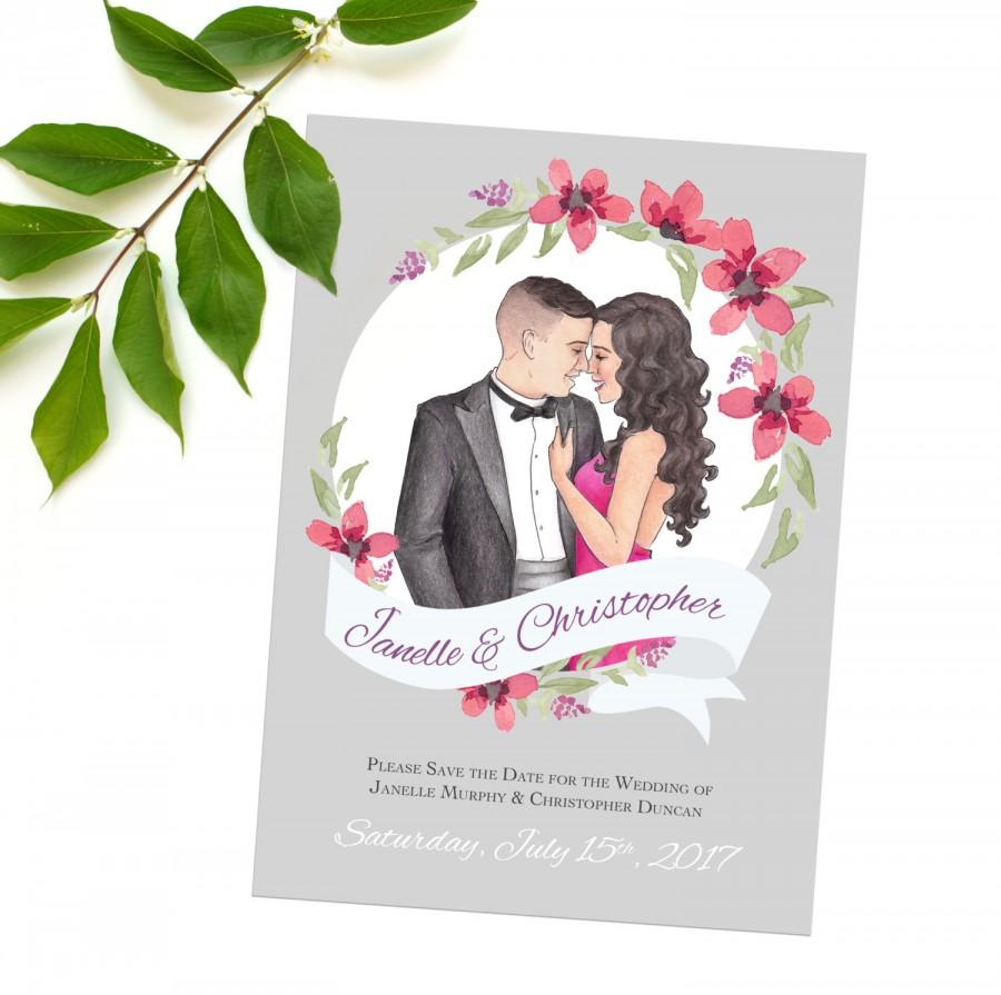 Mariage - Illustrated Save the Date, Personalized Printable Engagement Postcard. Floral wreath save the dates, Unique Custom Illustrated Save the Date