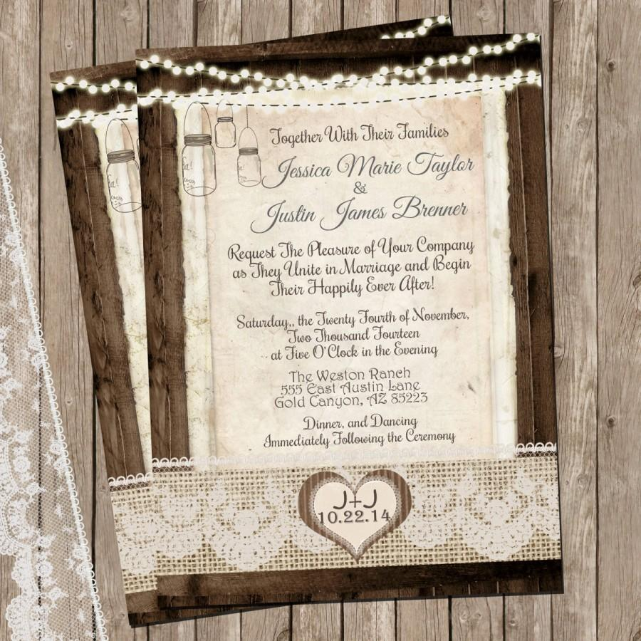 Rustic And Lace Wedding Invitation, Mason Jar, Burlap, Lights, Wood ...