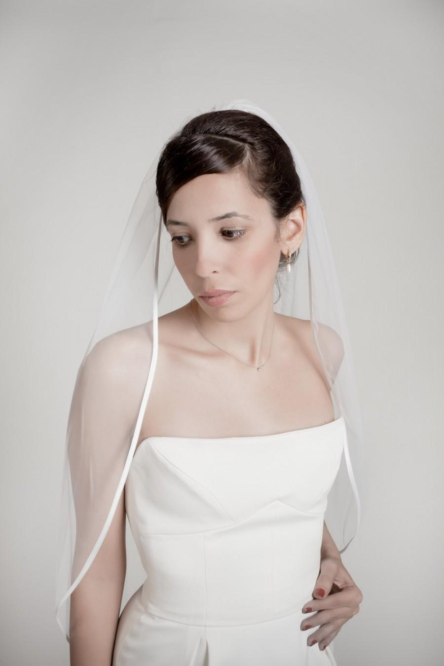 Hochzeit - Cocoon- one layer wedding bridal veil with satin finish, ivory or white [style 006]