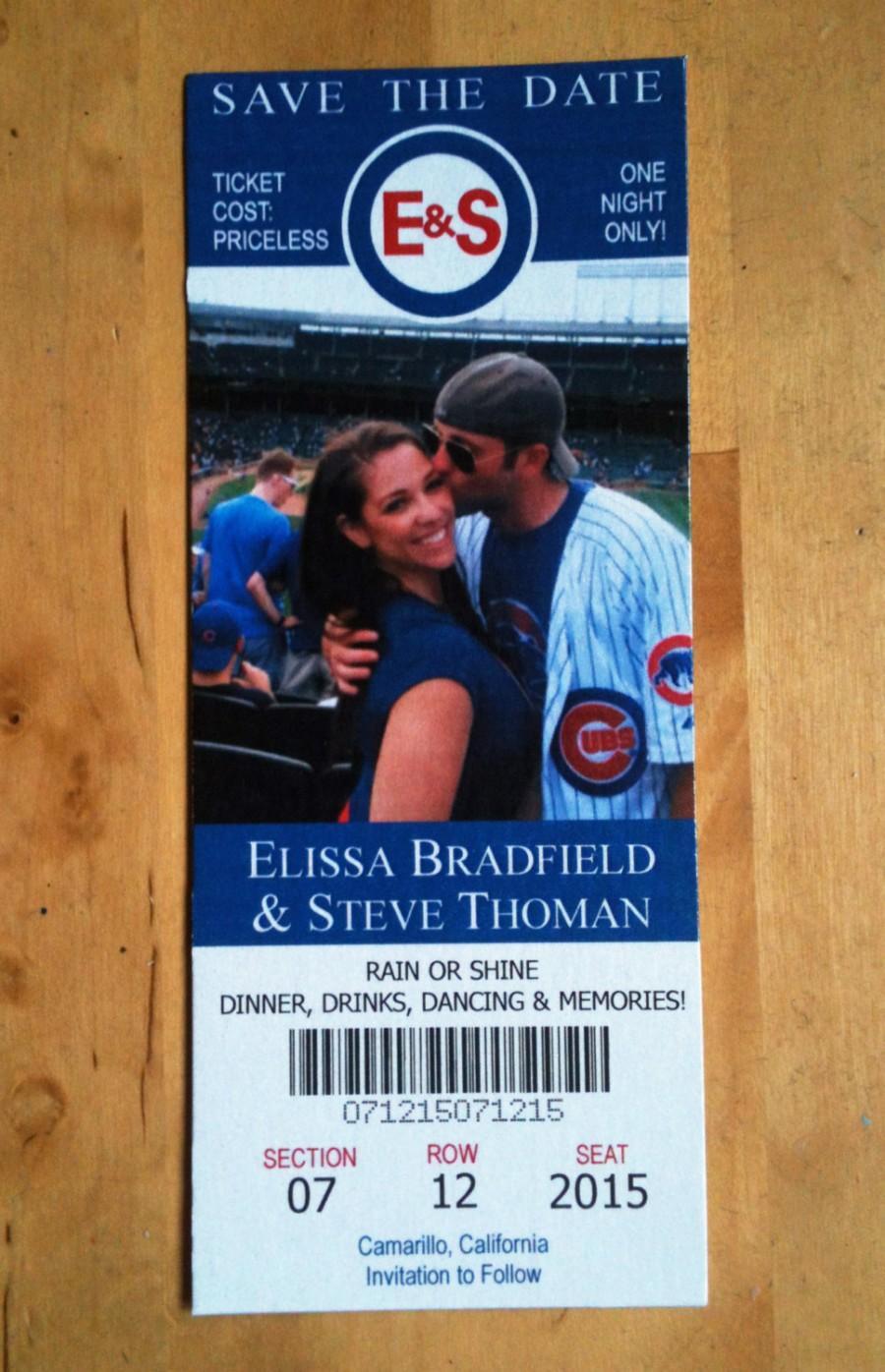 Mariage - Baseball or Football Save the Date Tickets + FREE Custom Monogram Design