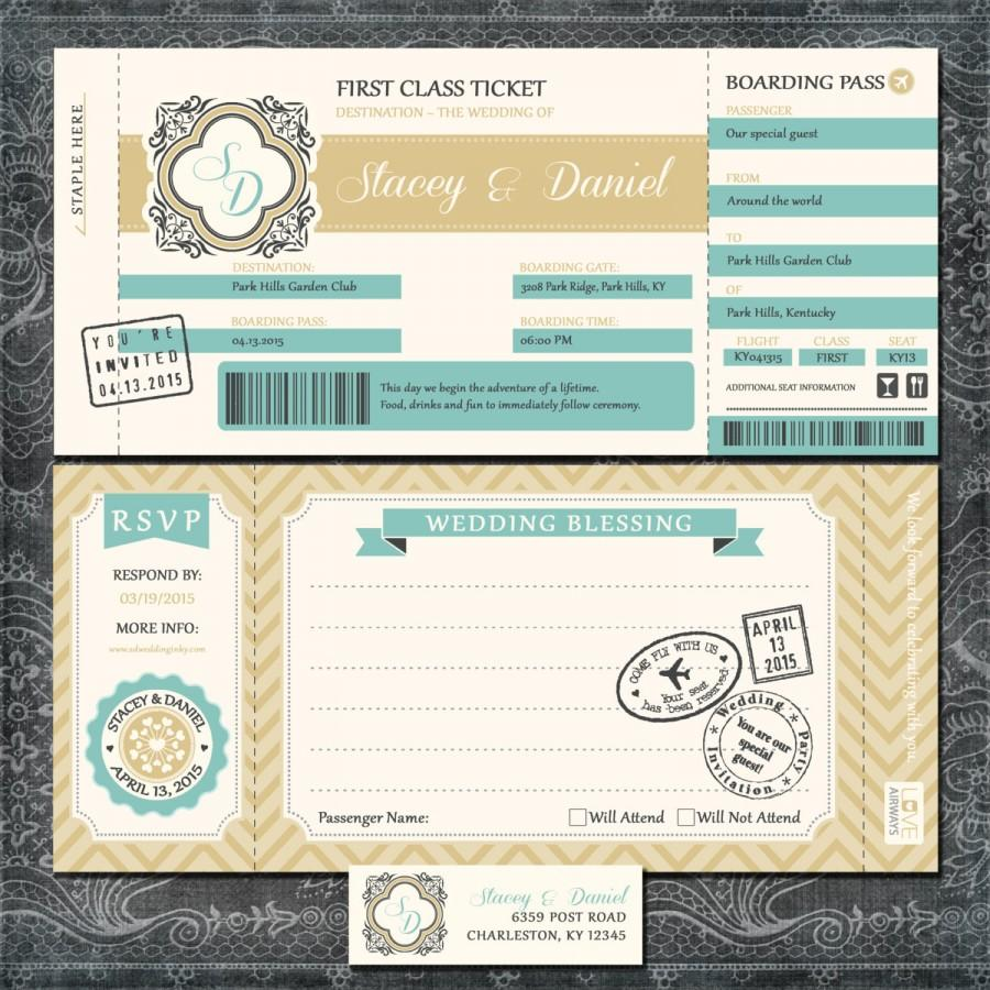 Mariage - Plane Ticket Wedding Invitations - Boarding Pass - Gold and Blue Travel Invitation Suite with RSVP Postcards - SAMPLE