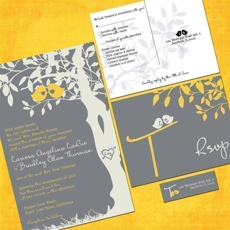 Gray and yellow wedding invitations discount wedding invitation custom love birds tree wedding invitation sample