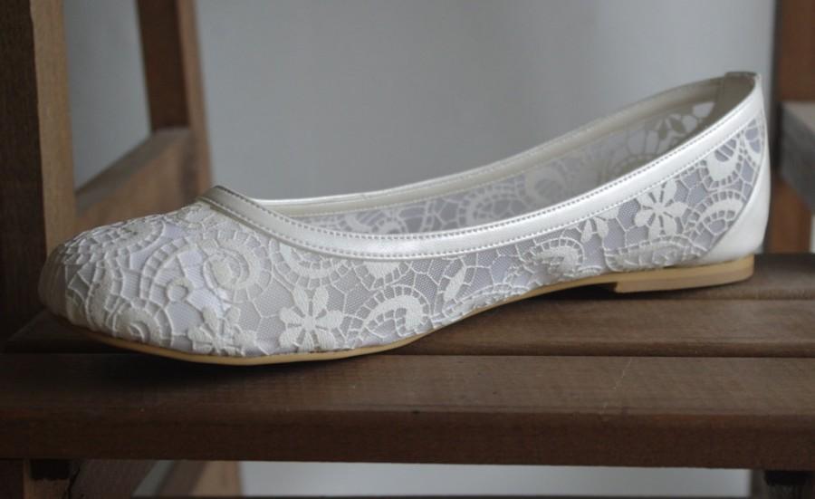 Свадьба - Handmade lace  flat wedding shoe designed specially 1006