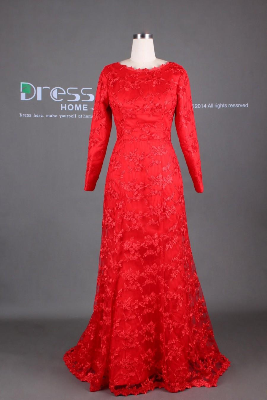 Red Long Sleeves Lace Wedding Dress/Red Lace Evening Gown ...