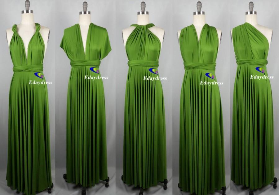 Mariage - Bridesmaid Dress Infinity Dress Green Floor Length Wrap Convertible Dress Wedding Dress