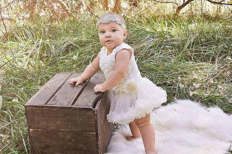 efae3fda3a99 Baby Tutu Dress - Ivory Chiffon Rosette Pettidress Romper -Ivory ...
