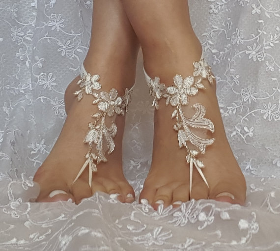 Свадьба - Free ship ivory copper cord wedding barefoot sandles anklet prom party barefeet bangle beach anklets bangles bridal bride bridesmaid