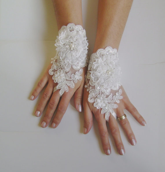 Mariage - Unique Ivory and 3D white flower Wedding gloves adorned pearls french lace free ship shabby chic