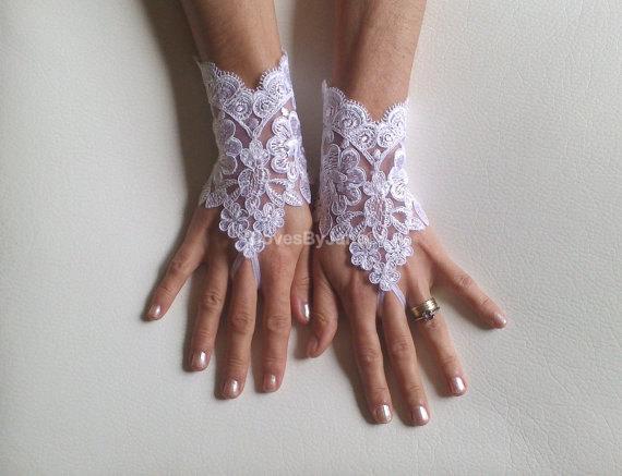 Wedding - White Wedding gloves free ship bridal gloves fingerless lace gloves