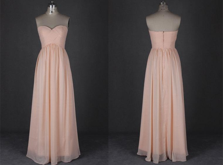 Mariage - Blush Bridesmaid Dresses Long Sweetheart Backless Simple Chiffon Evening Prom Dresses 2015
