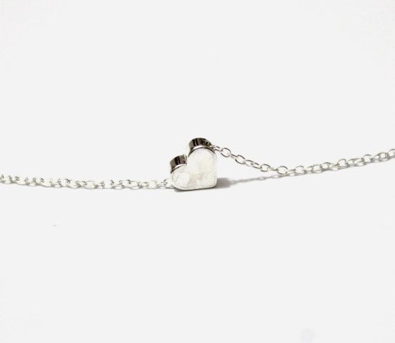 Tiny silver heart necklace little heart sterling silver chain tiny silver heart necklace little heart sterling silver chain minimalist jewelry silver heart necklace floating heart pendant mozeypictures Image collections