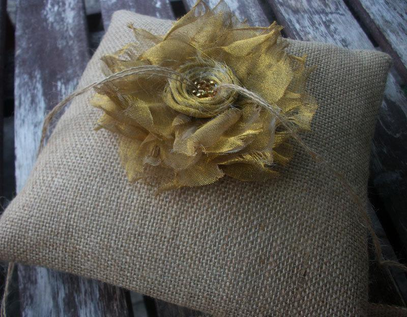 Mariage - Burlap Ring Bearer Pillow/Cushion for your Nature Woodland Fall  Wedding with Golden Yellow Metallic Organza Fabric Flower