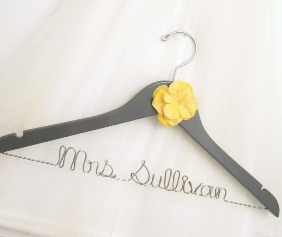 Mariage - Grey & Yellow Flower Wire Wedding Hanger - Painted Dark Gray or other Custom Bridal Color, Personalized