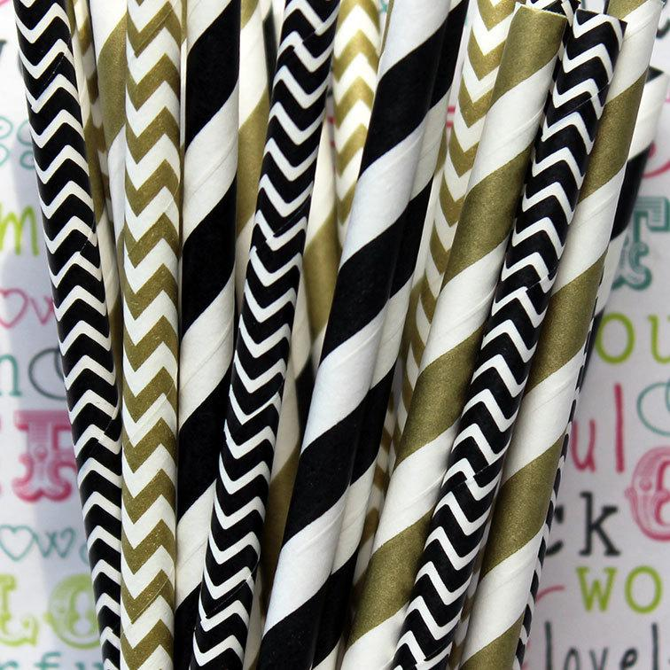 Свадьба - 100 Black and Gold Metallic Party Straws, Black and Gold Wedding Straws, with DIY Flag Template