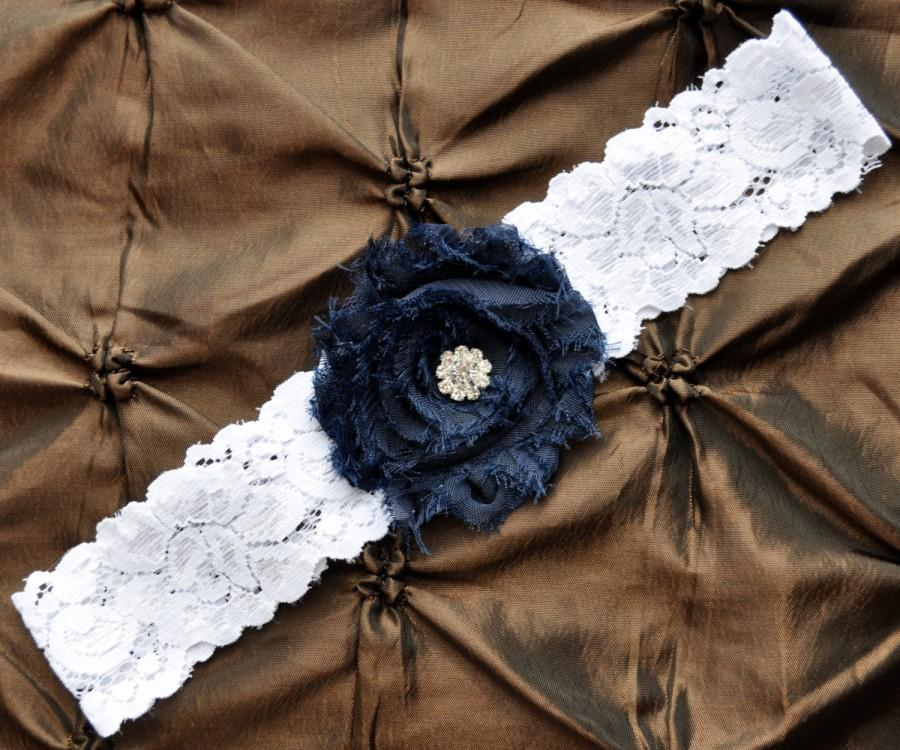 Mariage - Wedding Garter, Bridal Garter - White Lace Garter, Toss Garter, Shabby Chiffon Rosette Navy Blue, Something Blue, Navy Wedding Garter