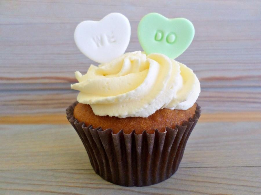 WE DO Candy Sugar Hearts Wedding Edible Favor Cake Cupcake Topper Fondant Bridal Shower Party