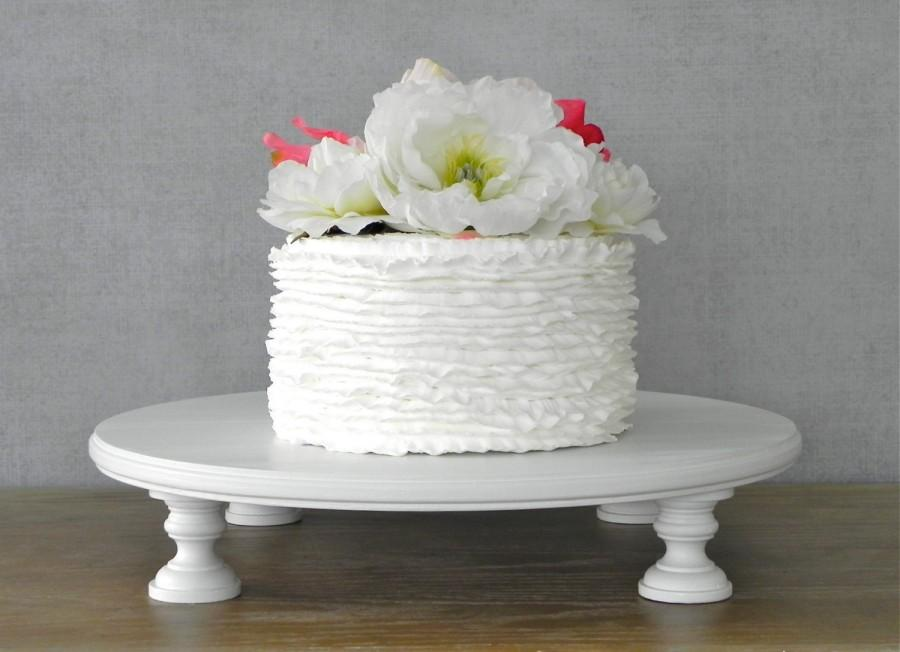 Свадьба - 12 Inch Cake Stand Wedding Round Cupcake White Wooden Rustic Vintage Wedding Decor E. Isabella Designs  Featured In Martha Stewart Weddings